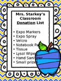 Classroom Donation List EDITABLE