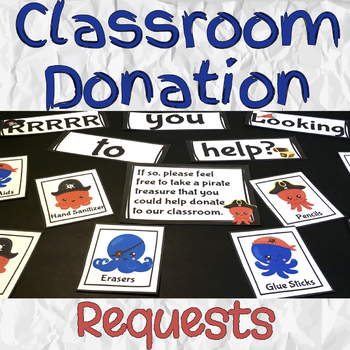 Classroom Donation Requests for Parent Teacher Conferences (Pirate Themed)