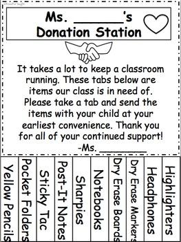 Classroom Donation Station (Editable)