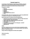 Classroom Donation Supply List