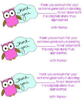 Classroom Donation Thank You *FREEBIE*