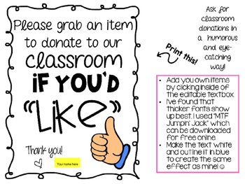 "Classroom Donation Wish List - Thumbs Up ""Like"""