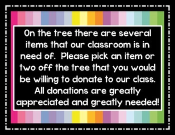 Classroom Donation Wishing Tree Sign and Directions