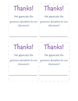 Classroom Donation and Thank you Pack