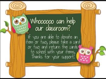 Classroom Donations Owl Theme {A Creative Way to Ask for Classroom Donations}