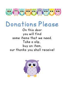 Classroom Donations Please Owls