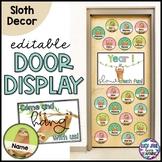 Classroom Door Decor Display Editable   Sloth Bulletin Boa