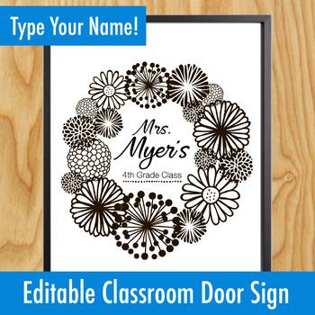Classroom Door EDITABLE Teacher Name Signs - Pretty Wreaths