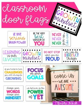 Classroom Door Flags: Growth Mindset