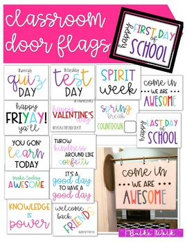 Classroom Door Flags Happy Everything!  sc 1 st  Teachers Pay Teachers & Classroom Door Flags: Happy Everything! by Burke Work | TpT