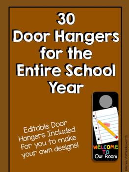 Classroom Door Hangers for the School Year - EDITABLE
