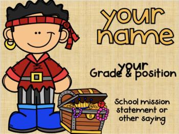 Classroom Door Sign - EDITABLE - Pirate Theme