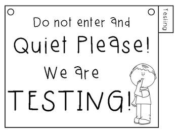 Classroom Door Sign (behaviors, testing, learning)