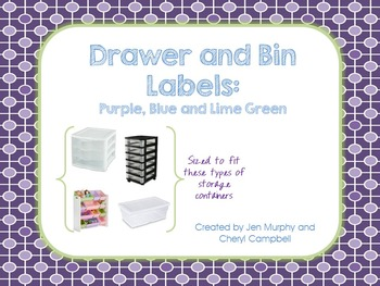 Classroom Drawer and Bin Labels {Purple, Blue and Lime Green}