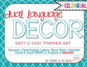 Classroom {Dual} Decor Pack- Editable Berry Cool Theme