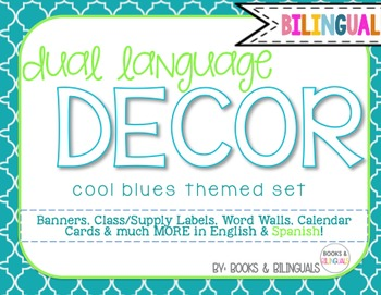 Classroom {Dual} Decor Pack- Editable Cool Blues Theme Primary