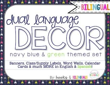 Classroom {Dual} Decor Pack- Editable Navy Blue&Green Theme Primary