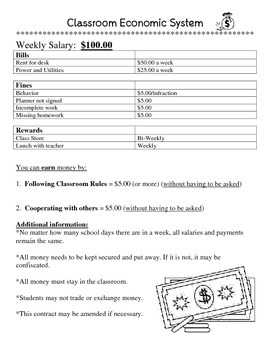 Classroom Economic System Guidelines