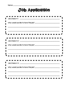 Classroom Economy Application and Acceptance Letter