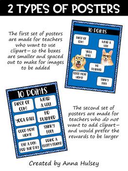 Classroom Economy: Editable Reward Posters