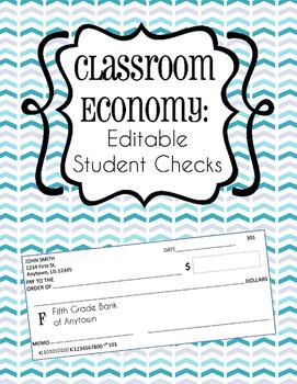 Classroom Economy: Editable Student Checks