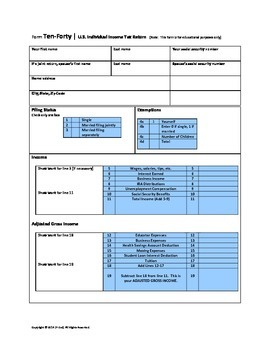 File Federal Taxes - 1040 Tax Worksheet & Profiles (Math,Social Studies,Economy)