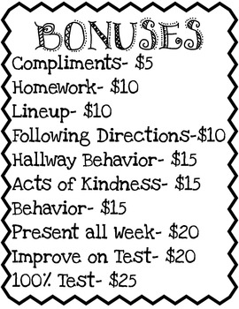 Classroom Economy Fines, Bonuses, and Job Poster