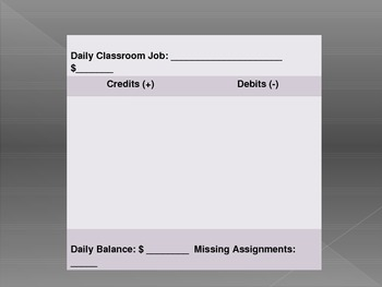 Classroom Economy Individual Student Tracker