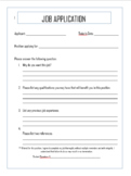 Classroom Economy Job Application