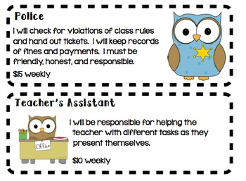 Classroom Economy Job Descriptions