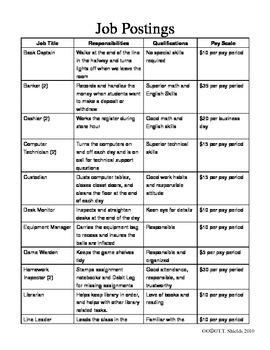 Classroom Economy Job List and Descriptions