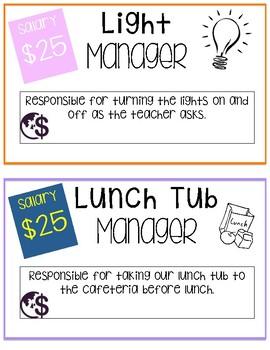 Classroom Economy Job Posters
