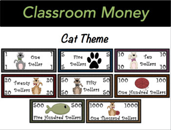 Classroom Economy Money (Cat Theme)