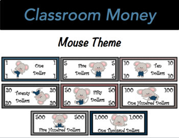 Classroom Economy Money (Mouse Theme)