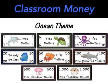 Classroom Economy Money (Ocean Theme)