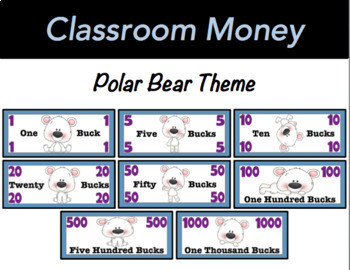 Classroom Economy Money (Polar Bear Theme)