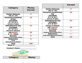 Classroom Economy Payroll