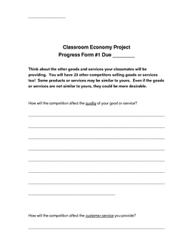 Classroom Economy Project Packet