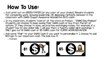 "Classroom Economy & Rewards - ""SWAG Cash"""