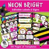 Editable Labels and Templates Neon Bright   Name Tags Signs   Classroom Decor