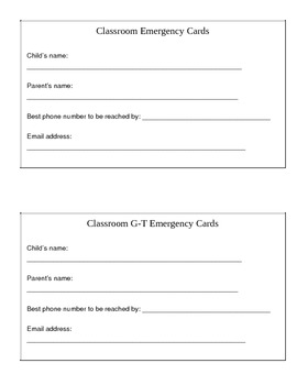 Classroom Emergency Information Card for Parent Contact