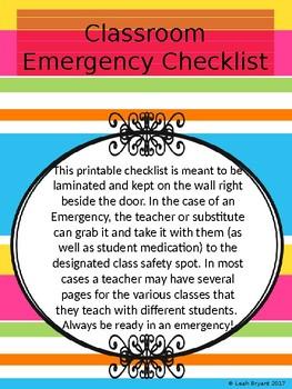 Classroom Emergency Student Checklist