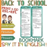 "Classroom language ""Say it in English"" – BOOKMARKS - Intermediate"