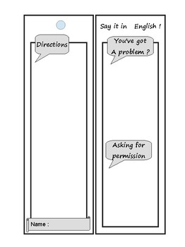 Classroom English Bookmark Template