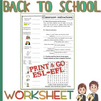 Classroom language - FOLLOWING INSTRUCTIONS