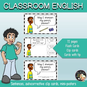 Classroom English Flashcards and Clip Cards