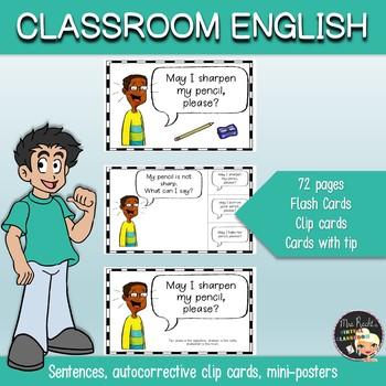 Classroom English Clip Cards
