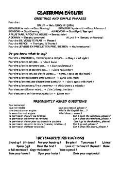 Classroom English recap (French / English)
