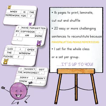 Classroom English - sentence building game