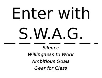 """Classroom Entrance Sign """"Enter with S.W.A.G."""""""
